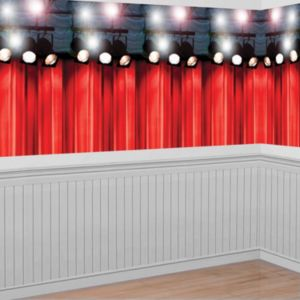 Top Panel Red Curtain Hollywood Movie Night Scene Setter
