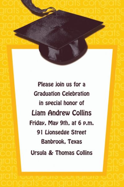 Yellow Congrats Grad Custom Graduation Invitation