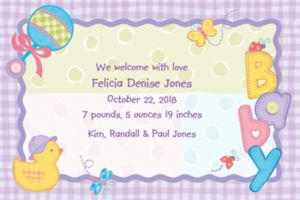 Custom Hugs & Stitches Birth Announcements