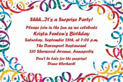 Custom Party Streamers Birthday Invitations