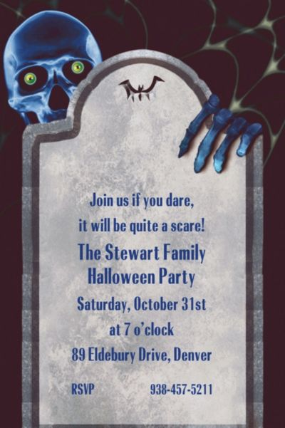 Creepy Bones Halloween Custom Invitation
