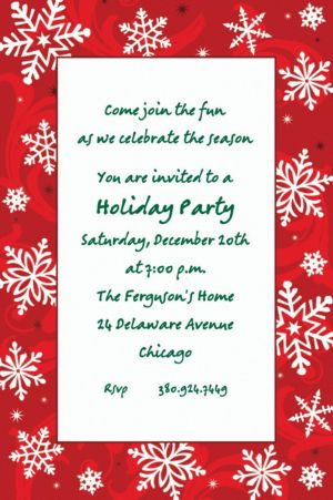 Custom Elegant Red Christmas Invitations