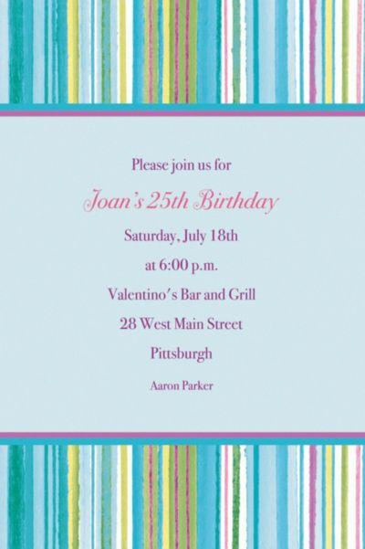 Custom Blue Watercolor Stripe Invitations