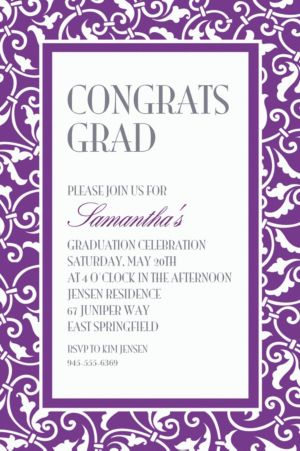 Custom Purple Ornamental Scroll Invitations