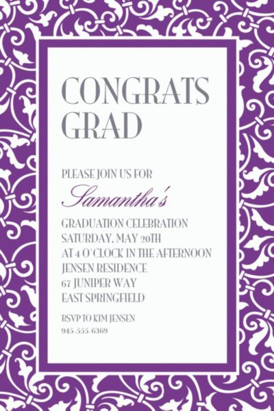 Purple Ornamental Scroll Custom Invitation