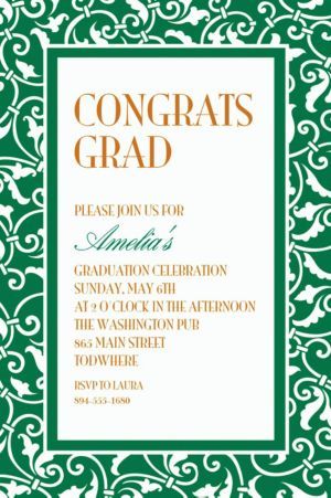 Custom Festive Green Ornamental Scroll Invitations