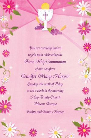 Custom Pink First Communion Invitations