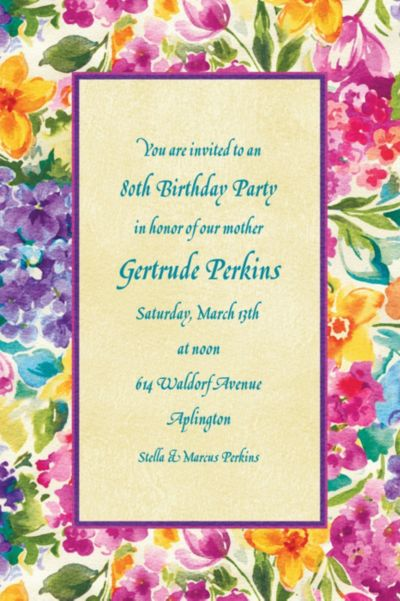 Floral Impressions Custom Invitation