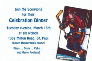 Custom Hockey Card Invitations