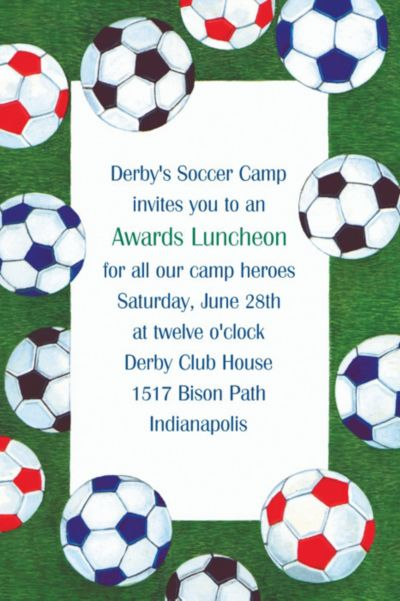 Custom Soccer Ball Border Invitations