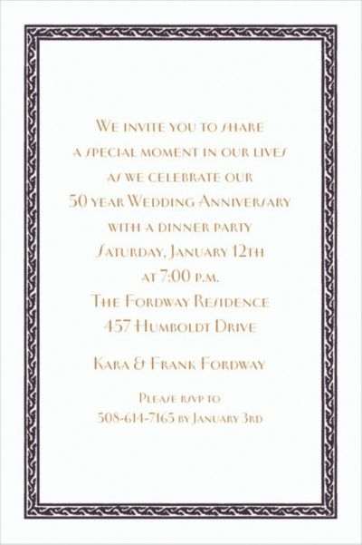Black Tapestry Border/White Custom Invitation