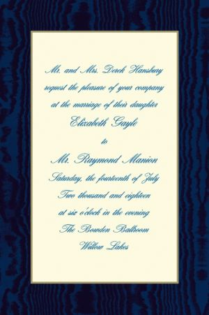 Custom Navy Moire and Ecru Invitations