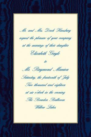 Custom Navy Moire and Ecru Invitations