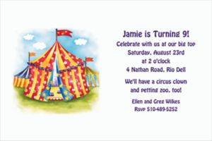 Custom Circus Tent Invitations