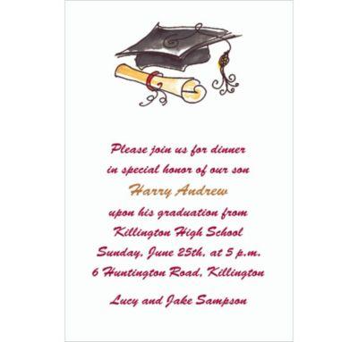 Fun Cap & Diploma Black Custom Invitation