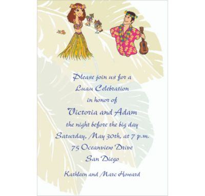Custom Luau Couple Wedding Invitations