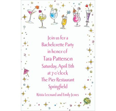 Custom Girlie Drinks Bachelorette Invitations