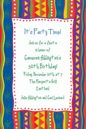 Custom Fiesta Stripes Invitations
