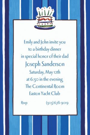 Custom Handsome Cake Birthday Invitations