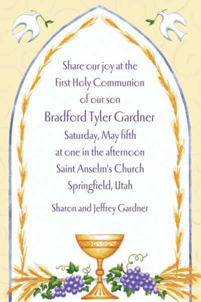 Chalice with Doves and Wheat Custom Invitation