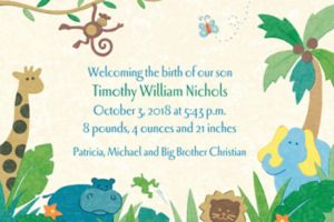 Custom Cute Jungle Animals Birth Announcements
