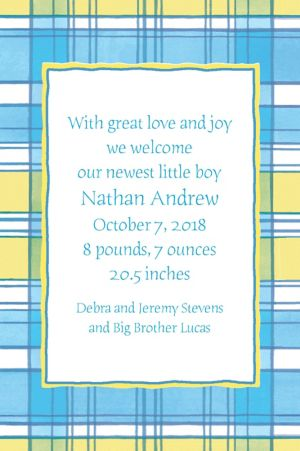Custom Blue & Yellow Check Birth Announcements