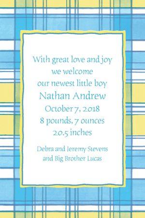 Custom Blue & Yellow Check Birth Announcements