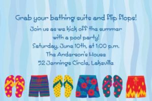 Custom Pool Party Time Invitations