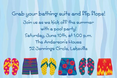 Pool Party Time Custom Invitation