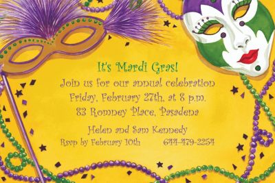 Custom Mardi Gras Masks Invitations