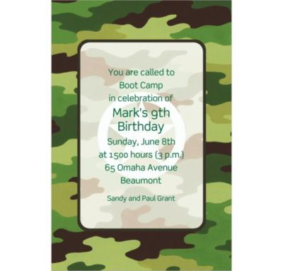 Custom Green Camouflage Invitations
