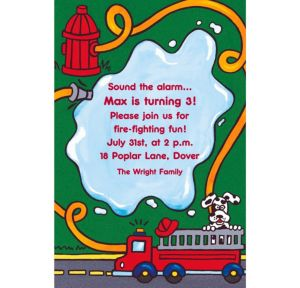 Custom Firetruck & Hydrant Invitations