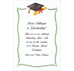 Custom Black Mortarboard & Ivy Graduation Invitations