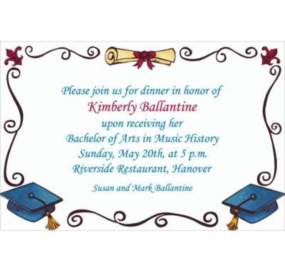 Custom Scholarly Grad Border Invitations