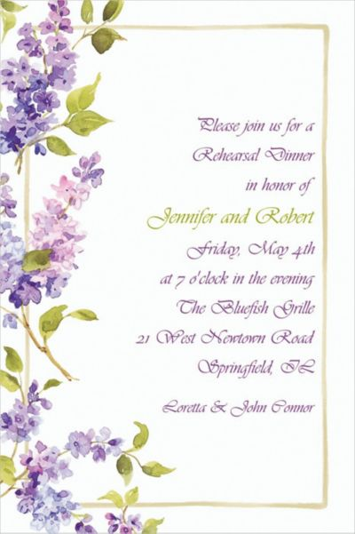 Pretty Posed Lilacs Custom Invitation