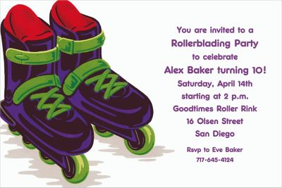 Roller Blades Custom Invitation
