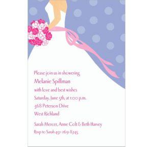 Custom Bride on Blue Background Bridal Shower Invitations
