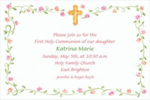 Custom Sweet Cross & Buds Invitations
