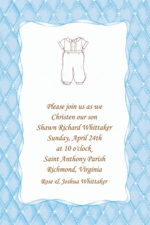 Custom Cute Baptism Suit Invitations