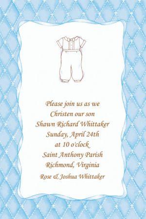 Custom Cute Baptism Suit Invitations