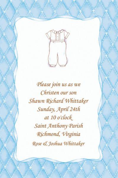 Cute Baptism Suit Custom Invitation
