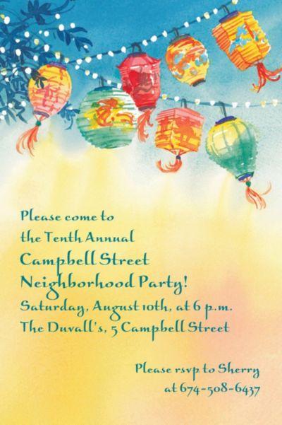 Windblown Lanterns Custom Invitation