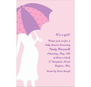 Custom Mommy with Umbrella Pink Baby Shower Invitations
