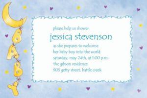 Custom Moon & Stars Baby Shower Invitations