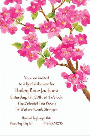 Custom Sweet Cherry Blossoms Invitations