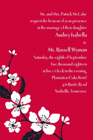Custom Bold Cherry Blossoms Invitations