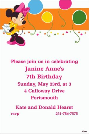 Custom Minnie Mouse Bright Birthday Invitations