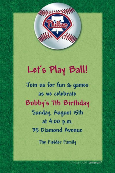 Philadelphia Phillies Custom Invitation