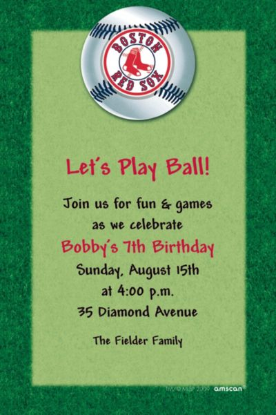Custom Boston Red Sox Invitations