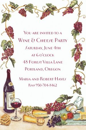 Custom Wine, Cheese & Grape Vines Invitations